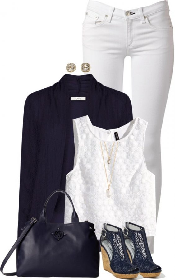 Matching Navy Cardigan and Wedges outfitspedia