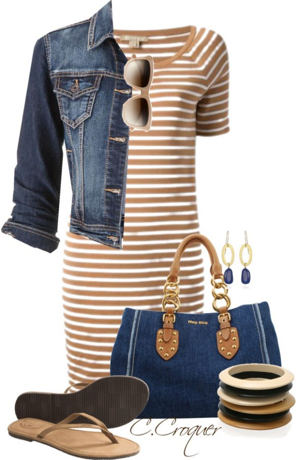 Michael Kors Brown Striped Tshirt Dress Outfit outfitspedia
