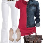 Red Top & White Bottom Casual Outfit