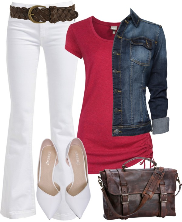 Red Top & White Bottom Casual Outfit outfitspedia