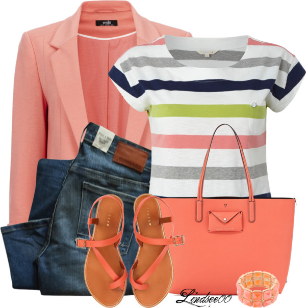 Stripes and Coral Blazer Spring Outfit outfitspedia