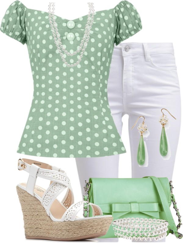 Vintage Polka Dot Top Summer Outfit outfitspedia