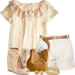 Belted Shorts with Ruffle Collar Blouse Summer Outfit