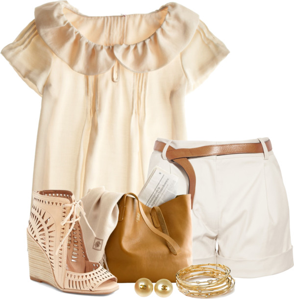 Belted Shorts with Ruffle Collar Blouse Summer Outfit outfitspedia