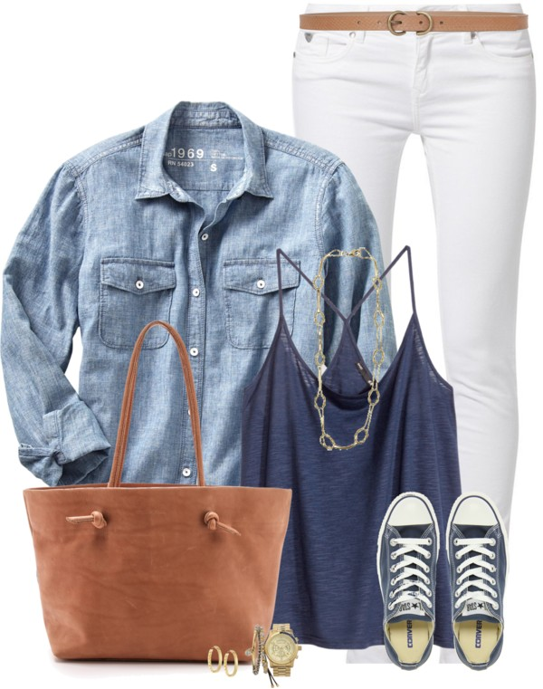 Casual HM Tank Top With Cambray and Sneakers Outfit outfitspedia