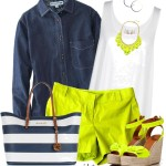 Colored Shorts and a Denim Shirt Summer Outfit