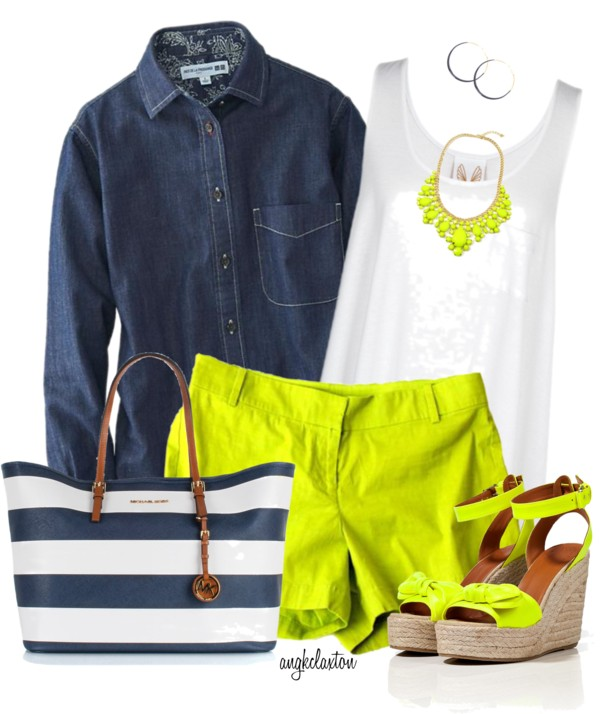 Colored Shorts and a Denim Shirt Summer outfit outfitspedia