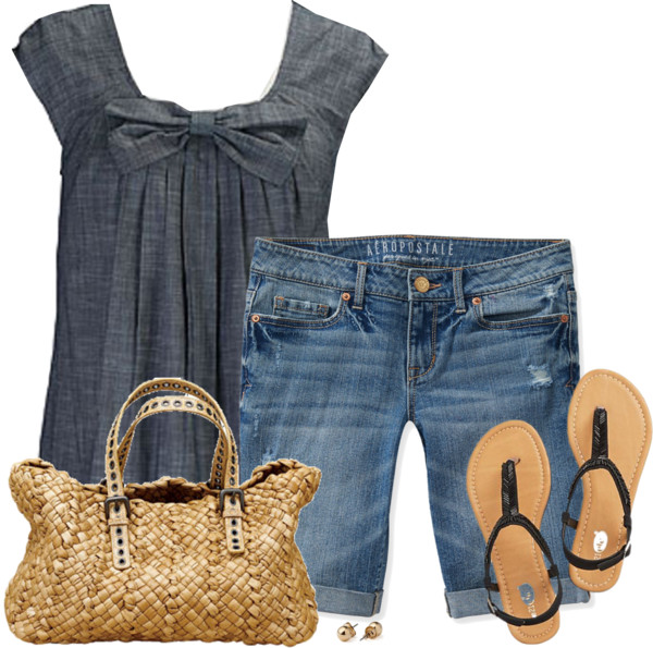 Cute Bow Tie Chambray Blouse with Bermuda Shorts Summer Outfit outfitspedia