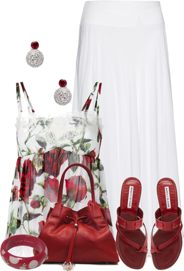 Cute rose print vest top With Maxi Skirt Summer Outfit outfitspedia