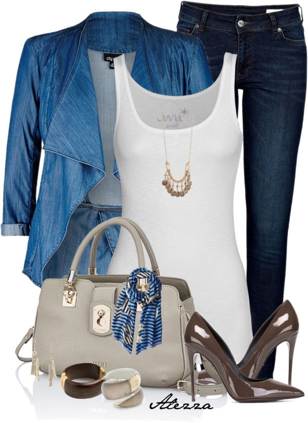 Denim Drape Front Jacket Casual Outfit outfitspedia