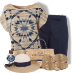 Multi Pullover and Carven Navy Wool Shorts Summer Outfit