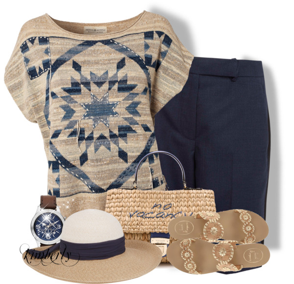 Multi Pullover and Carven Navy Wool Shorts Summer Outfit outfitspedia