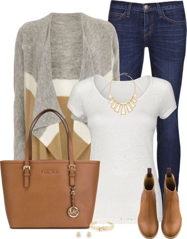 Drape Front Cardigan With Matching Shoes Fall Outfit outfitspedia