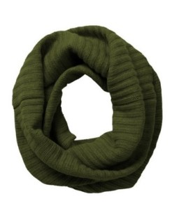 Cashmere Ribbing Infinity Scarf olive green outfitspedia
