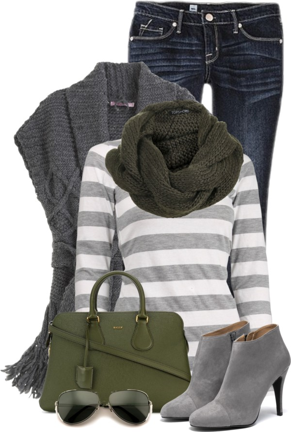 Cozy Grey Knit Sweater Vest Fall Outfit outfitspedia