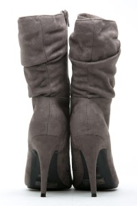 Grey Faux Suede Pointed Toe Slouch Booties