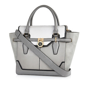 Grey padlock winged tote handbag
