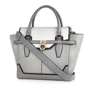 Grey padlock winged tote handbag