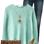 Mint Sweater and Flats Casual Outfit