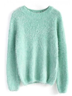 fluffy sweater in mint outfitspedia