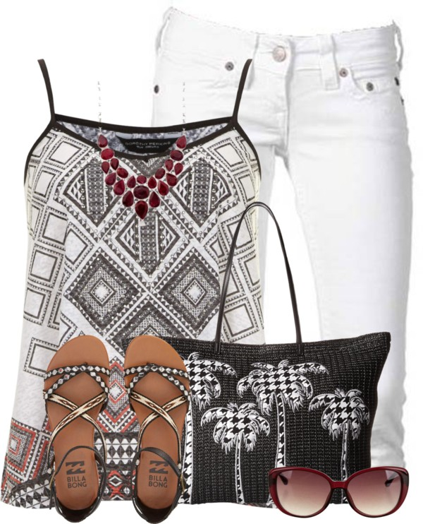 Aztec Print Cami Top With Billabong Sandals Summer Outfit outfitspedia