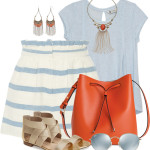 Cute Baby Blue Striped Shorts Summer Outfit