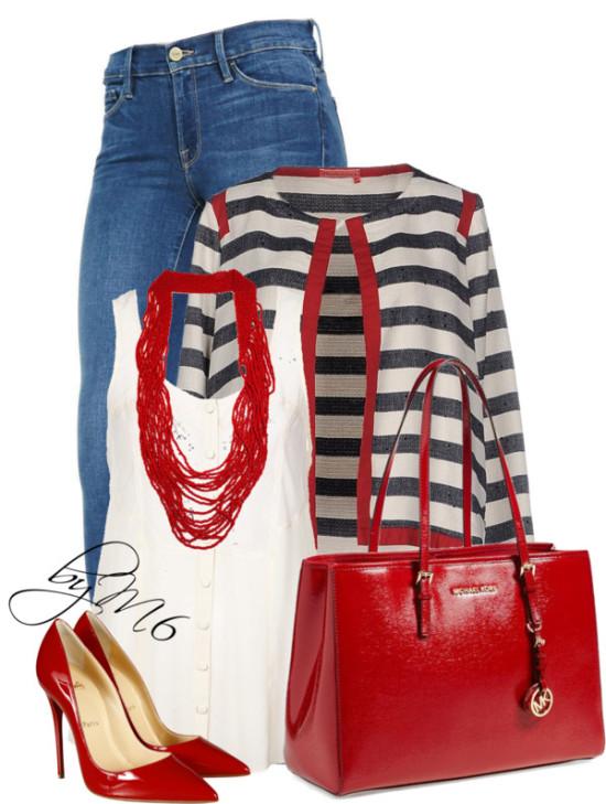 Manila Grace striped denim blazer stylish outfit outfitspedia