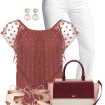 Mesh Polka Dot Blouse Casual Summer Spring Outfit