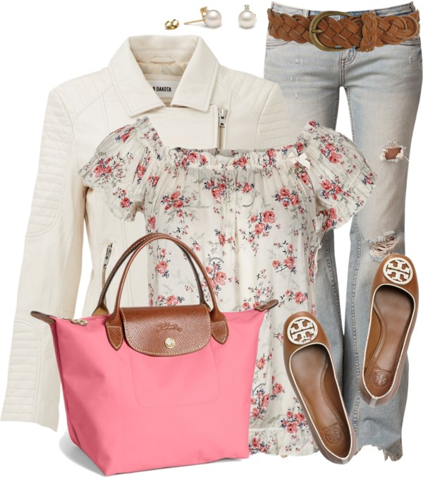Neutral Leather Jacket spring outfit outfitspedia