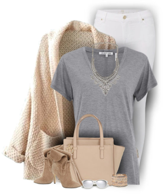 Blush Cardigan With Lace Up Booties Casual Fall Outfit outfitspedia