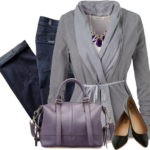 Casual Belted Cardigan With Purple Satchel Outfit Idea