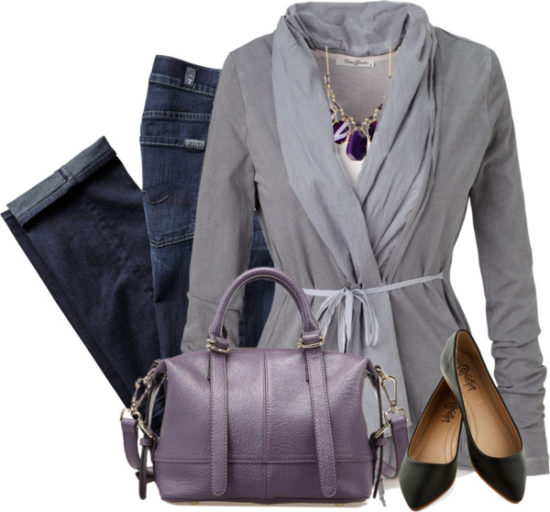 Casual Belted Cardigan With Purple Satchel Outfit Idea outfitspedia