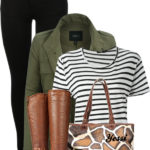 Casual Military Green Jacket with Striped T Shirt Fall Outfit