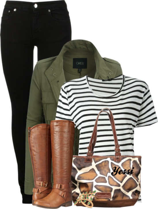 Casual Military Green Jacket with Striped T Shirt Fall Outfit outfitspedia