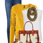 Casual Mustard Color Cardigan With White Sleeveless Shirt Spring Outfit