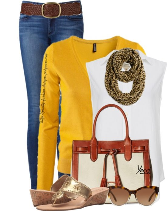 Casual Mustard Color Cardigan With Sleeveless Button Down Shirt Fall Outfit outfitspedia