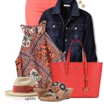 Coral Jeans With Summer Top and Denim Jacket Outfit