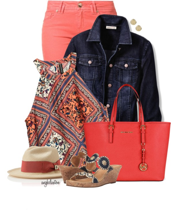 Coral Jeans With Summer Top and Denim Jacket Outfit outfitspedia