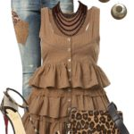 Cute Ruffle Trim Top With Leopard Pumps Summer Outfit