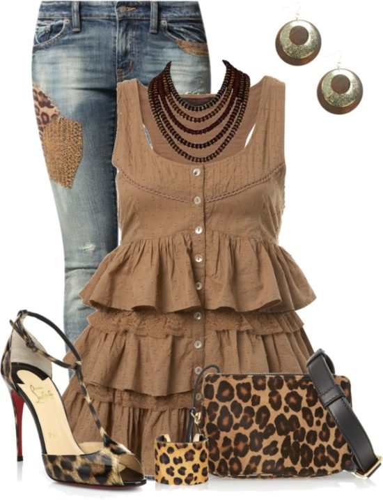 Cute Ruffle Trim Top With Leopard Pumps Summer Outfit outfitspedia