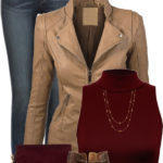 Faux Leather Jacket With Turtleneck Crop Top Fall Outfit