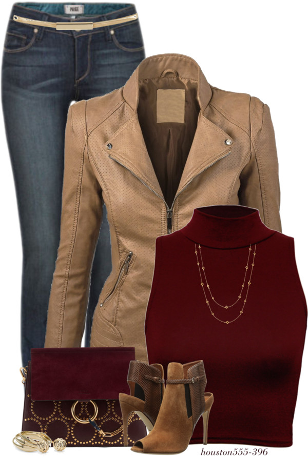 Faux Leather Jacket With Turtleneck Crop Top Fall Outfit outfitspedia