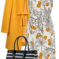 Floral Classy Dress and Striped Tote Outfit Idea outfitspedia