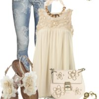 Lace and Flowers Cute Summer Outfit outfitspedia