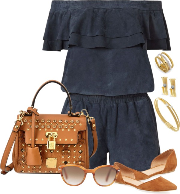 Navy suede romper summer outfit outfitspedia