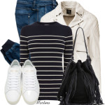 Neutral Leather Moto Jacket Casual Outfit