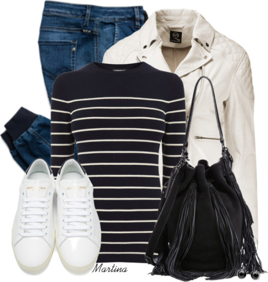 Neutral Leather Moto Jacket Casual Outfit outfitpedia