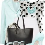 Polka Dots and Light Blue Cute Work Outfit
