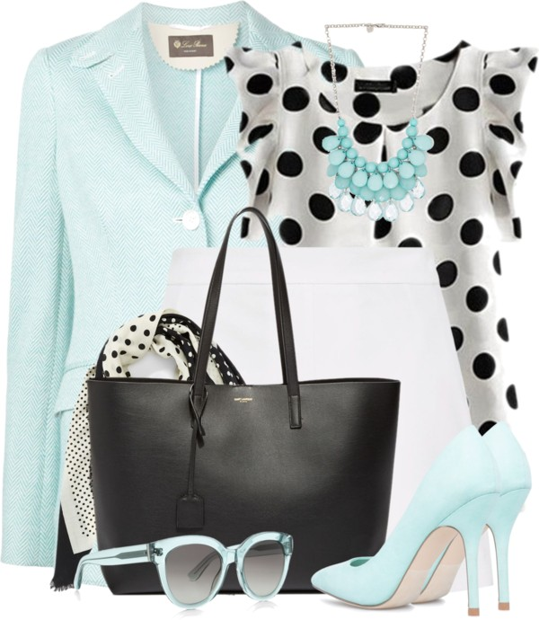 Polka Dots and Light Blue Cute Work Outfit outfitspedia