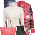 Red Argyle Cable Knit Patterned Cardigan Casual Fall Winter Outfit
